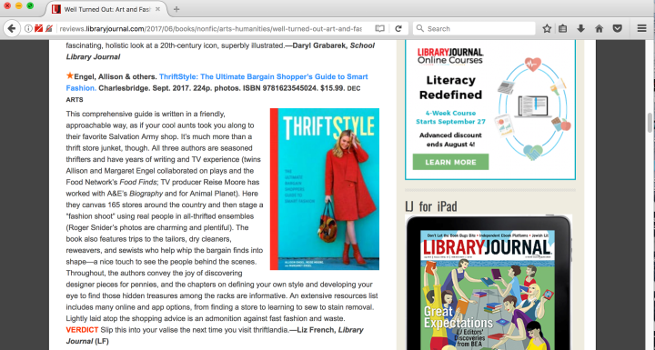 Library Journal Pens a Starred Review on ThriftStyle