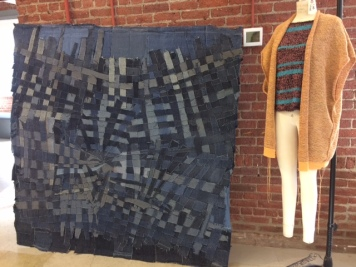Wall hangings, rugs and kimono jackets are made of former Eileen Fisher garments.